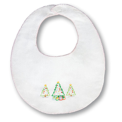 Christmas Trees White with Pink Trim Embroidered Birdseye Bib 17H 6106 BIB PK