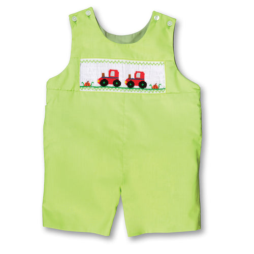 Trotting Tractors Apple Green Reversible Smocked Romper 17F 6107 R