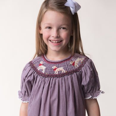 Lovable Labs Maroon White Gingham Smocked Bishop w/RicRac 17F 6109 A