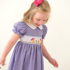 Umbrella Ducks Purple Gingham Smocked Dress w/Collar & Sash 18SU 6135 D