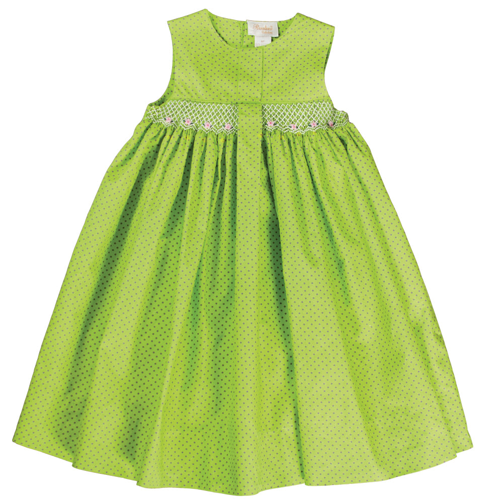 Kady Apple Green Grey Dot English Smocked Pleated Sundress 18SU 6137 SD