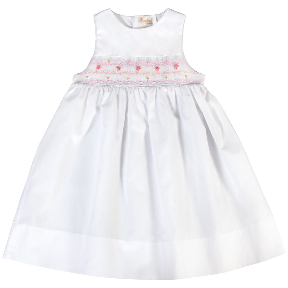 Coastal White Pink English Smocked Sundress 18SU 6140 SD