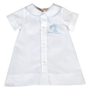 Happy Blue Dolphin Shadow Embroidered Boy White Daygown 18SU 6154 DGB