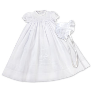 Heart & Bow White Christening Gown with Bonnet & Slip AYR 6160 CG