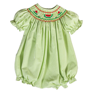 Watermelon Green Seersucker Smocked Girl Bubble 18SU 6165 BUG