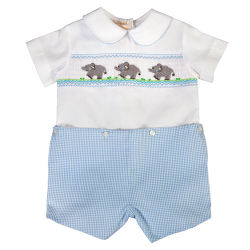Baby Elephants White & Blue Gingham Button-On Smocked Short Set 18SP 6172 SS1