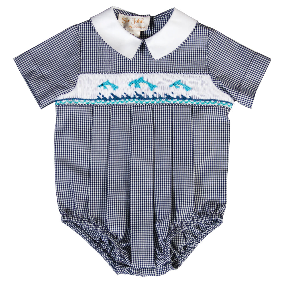 Dolphins Navy Gingham Smocked Boy Bubble 18SU 6174 BUB