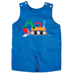 Backhoe Royal Blue Striped Reversible Romper 18SU 6177 R