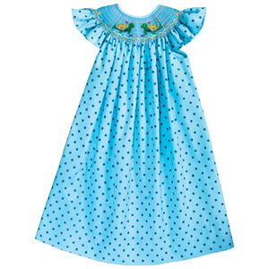 Turtle Friends Turquoise Dot Smocked Angel Sleeve Bishop 18SU 6181 A