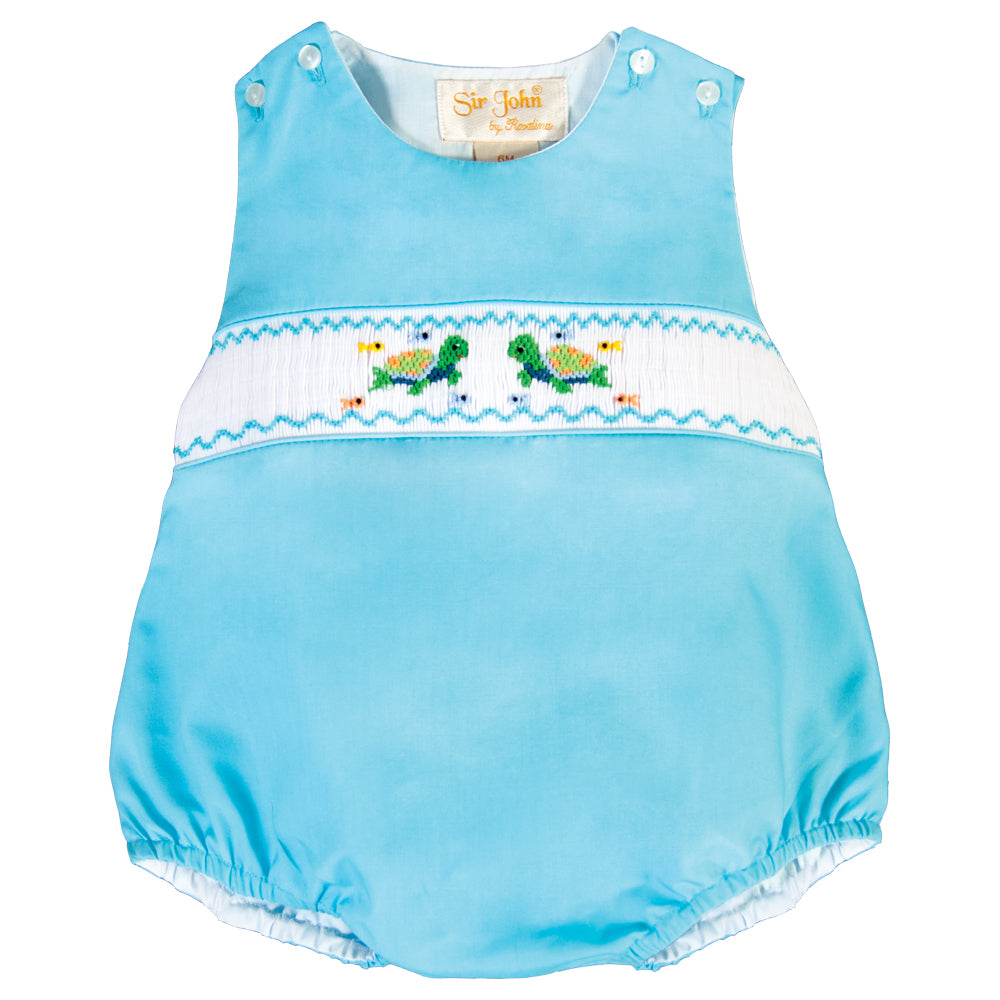 Turtle Friends Turquoise Smocked Boy Bubble 18SU 6181 BUB