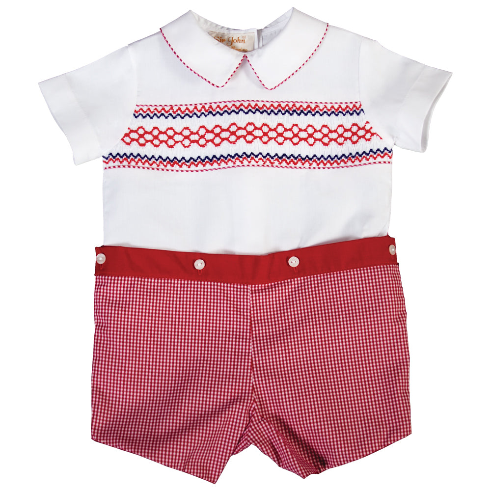Patriot White Red Gingham Button-On Smocked Short Set 18SU 6186 SS1