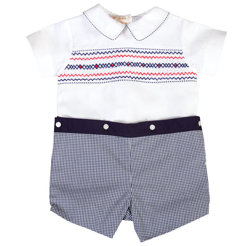Patriot White Navy Gingham Button-On Smocked Short Set 18SU 6187 SS1