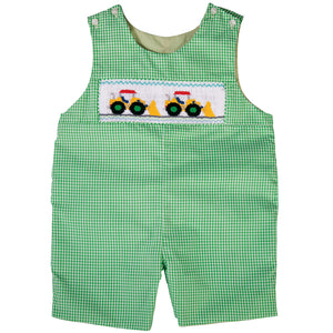 Payloaders Green Gingham Smocked Romper 18SU 6193 R