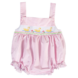 Elegant Ducks Pink Tiny Gingham Smocked Girl Bubble w/Adjustable Button Shoulder Straps 18SP 6194 BUG