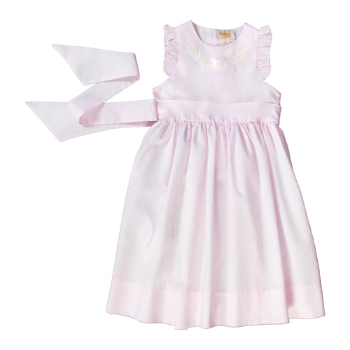 Embroidered Light Pink Sundress w/Sash & Flutter Sleeves 18SP 6197 SD