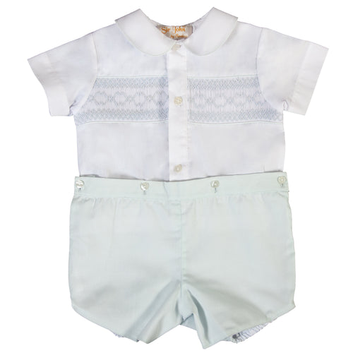 White & Light Blue English Smocked Button-On Short Set 18SP 6236 SS1