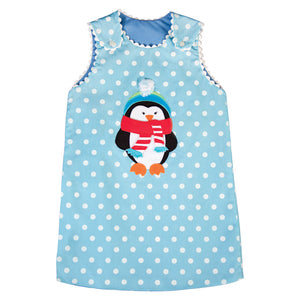 Winter Penguin Turquoise Dotted Reversible Aline with RicRac 18H 6238 C