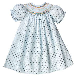 Harper Light Blue Gray Dot English Smocked Bishop 18F 6240 A