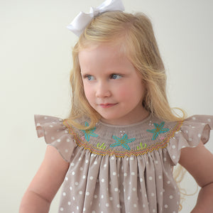Sea Stars Tan White Dot Smocked Angel Sleeve Bishop 18SU 6255 A