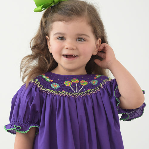 Mardi Gras Lollipops & Masks Dark Purple Smocked Bishop w/RicRac 18SP 6257 A