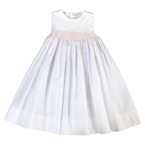 Francis White Pink English Smocked Sundress 18SU 6260 SD