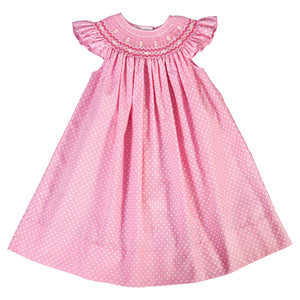 Daphne Medium Pink White Dot English Smocked Angel Sleeve Bishop 18SU 6261 A