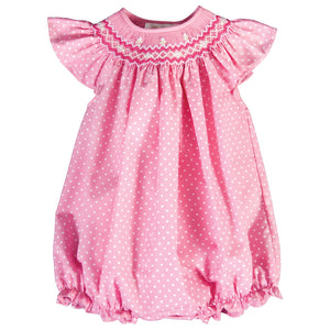 Daphne Medium Pink White Dot English Smocked Angel Sleeve Girl Bubble 18SU 6261 BUG