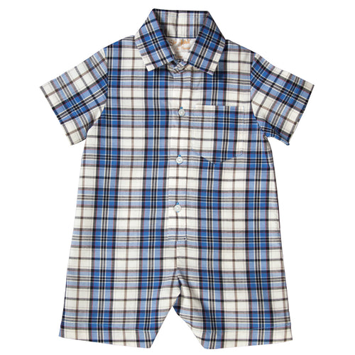Royal Blue Plaid Shortall 18F 6294 SA RBL