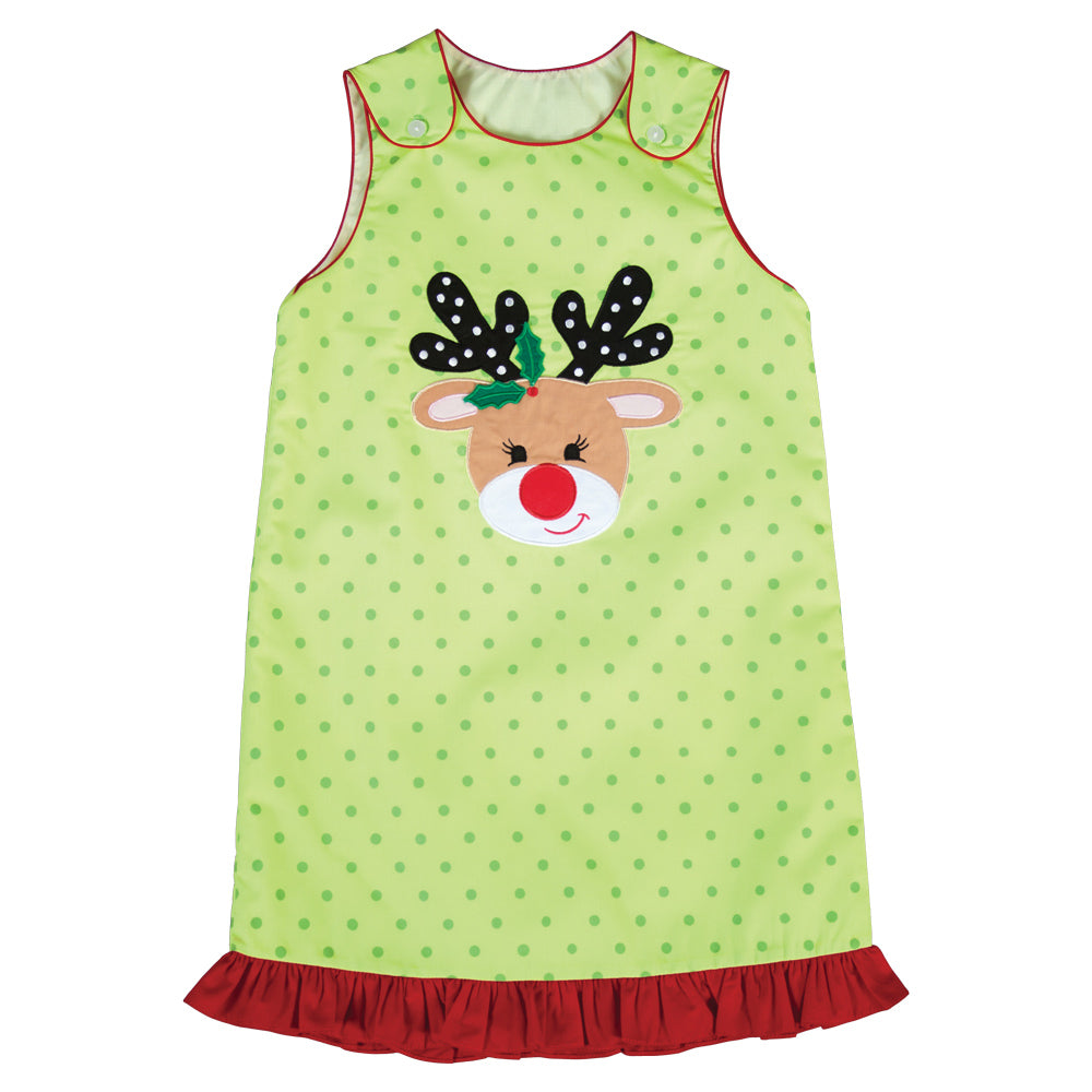 Rudolph Apple Green Dotted Aline with Red Ruffle 18H 6329 C