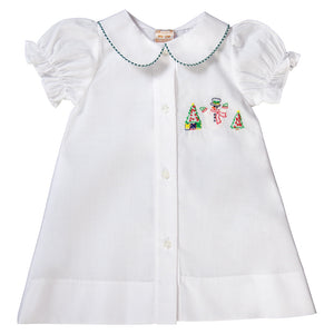 Christmas Snowman & Trees Shadow Embroidered White Girl Daygown 18H 6332 DGG