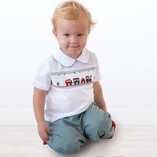 Christmas Train Smocked White Shirt & Green Gingham Pants 18H 6369 SP