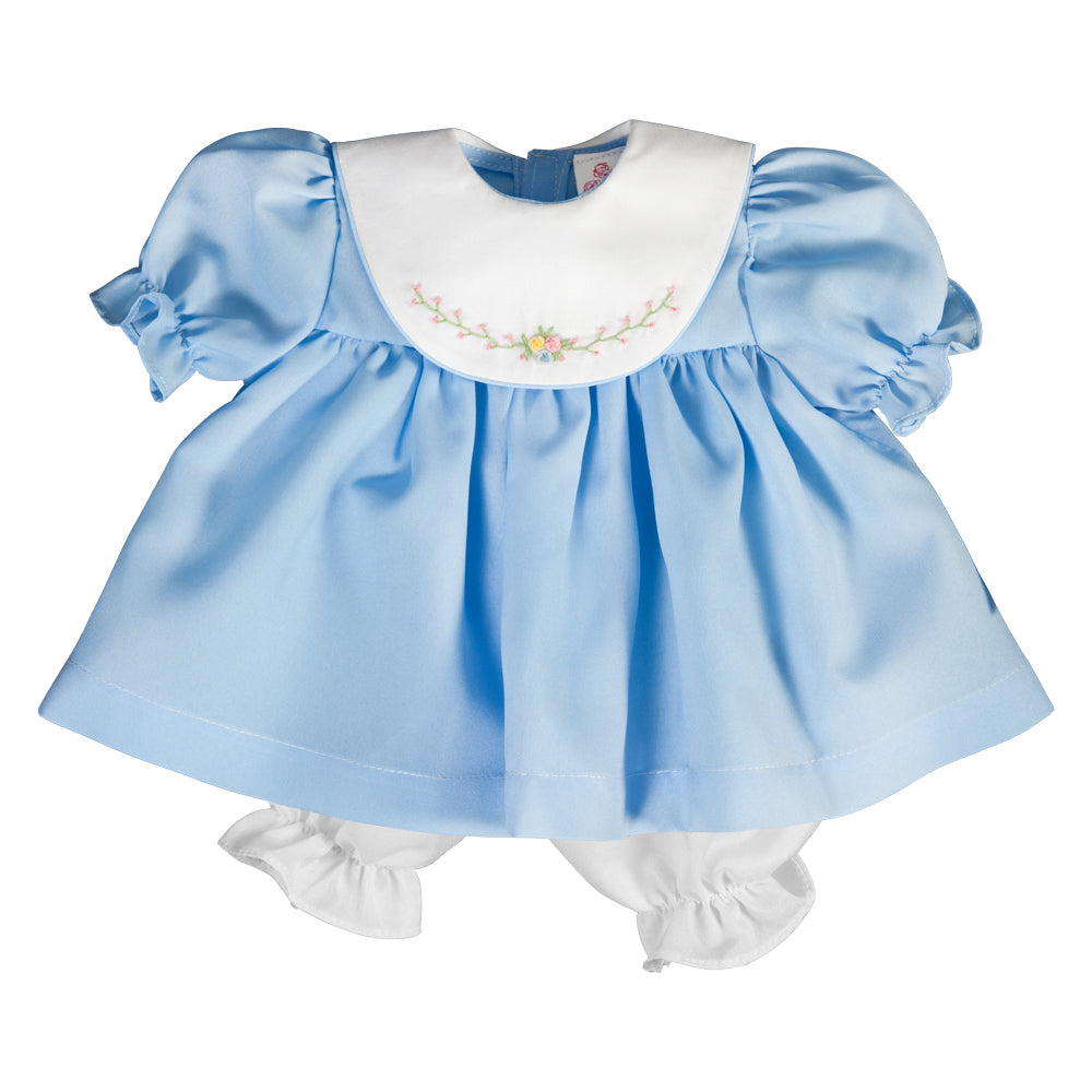 Bullion Flowers Embroidered Light Blue Doll Dress w/ White Collar 17 AYR 6374 DD