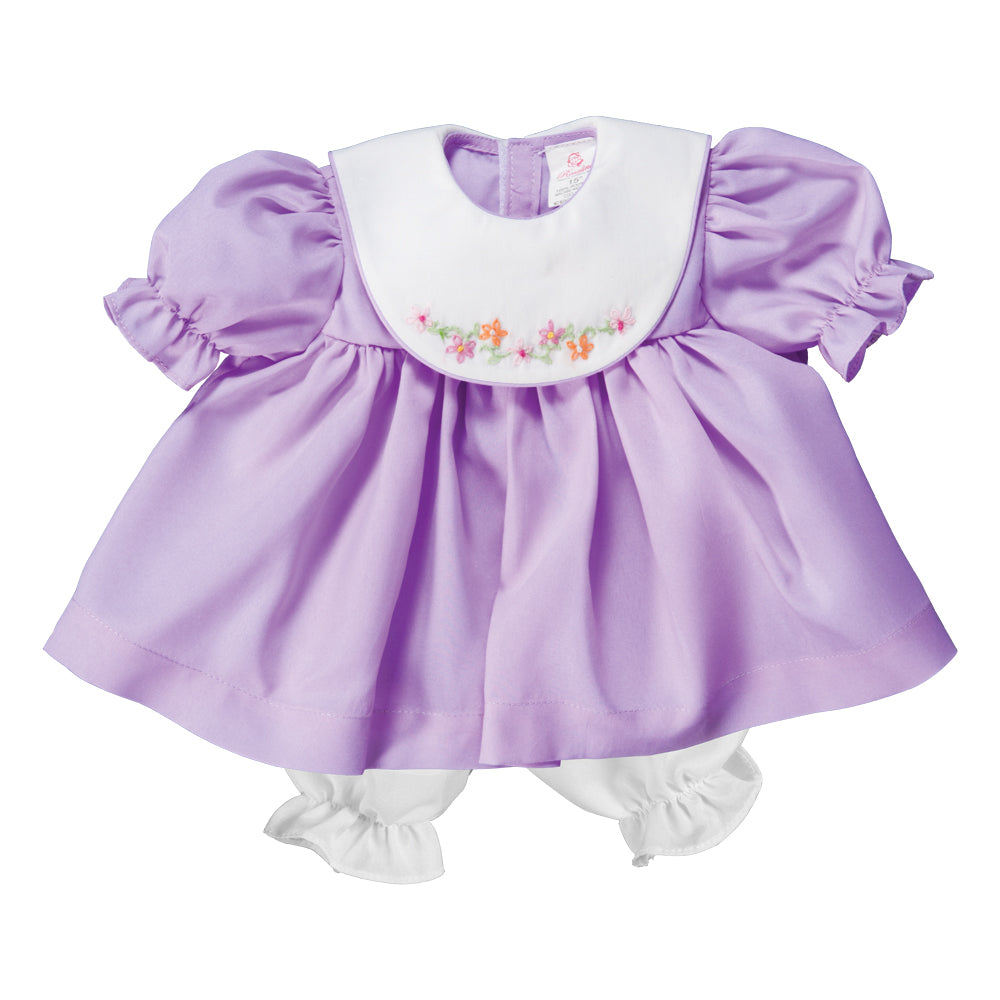 Bullion Flowers Embroidered Purple Doll Dress w/ White Collar 17 AYR 6375 DD