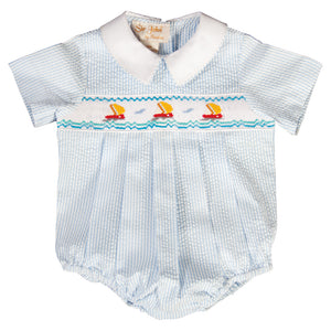 Sailboats Blue Striped Seersucker Smocked Boy Bubble 19SU 6383 BUB