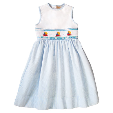 Sailboats Blue Striped Seersucker Smocked Sundress 19SU 6383 SD