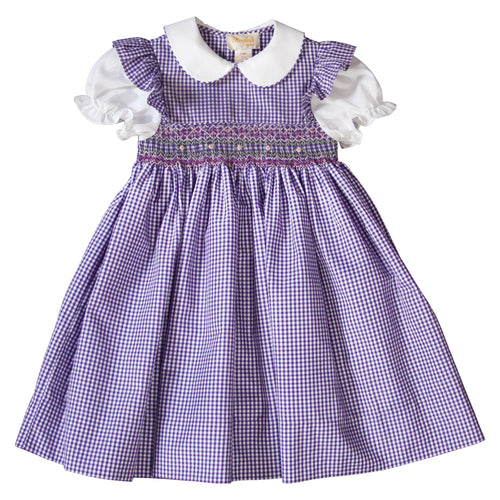 Dark Purple Gingham and White English Smocked Baby Dress 19SU 6389 D