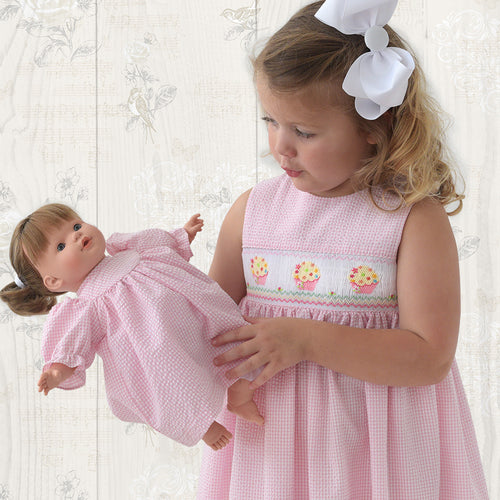 Sprinkled Cupcakes Pink Gingham Seersucker Smocked Sundress 19SU 6406 SD