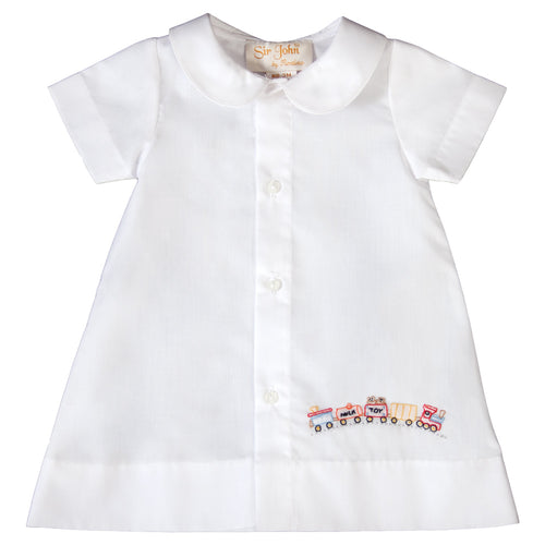 Baby Train Shadow Embroidered Boy White Daygown 19SU 6412 DGB