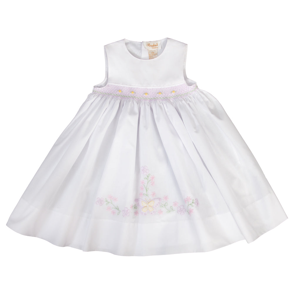 Butterfly Garden Shadow Embroidered and English Smocked White Sundress 19SP 6417 SD