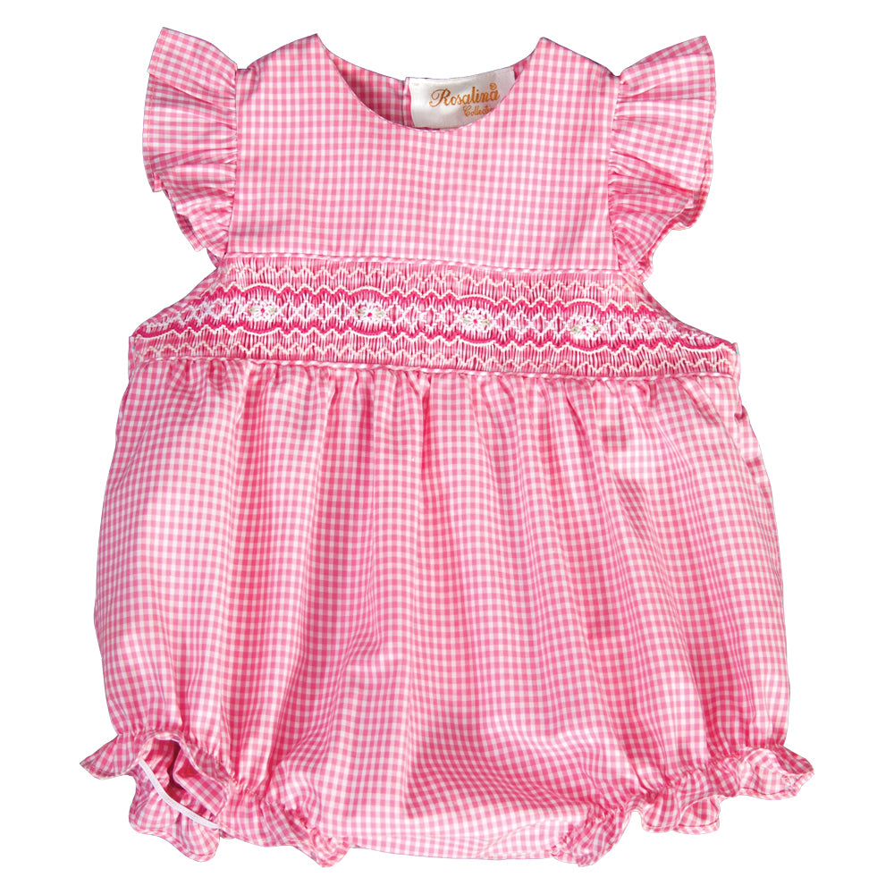 Pink Gingham English Smocked Girl Bubble with Flutter Sleeves 19SU 6420 BUG