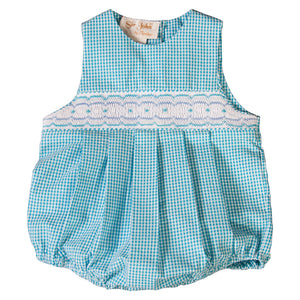 Turquoise Gingham English Smocked Seersucker Boy Bubble 19SU 6422 BUB