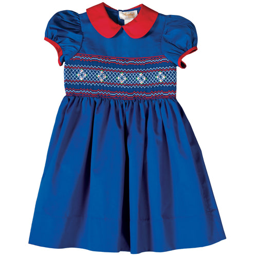 Royal Blue & Red English Smocked Baby Dress 18F 6435 D
