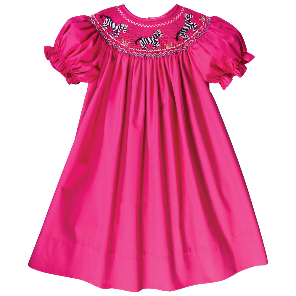 Zebra Crossing Fuchsia Smocked Bishop 18F 6440 A