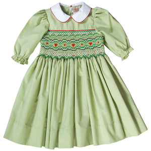 Elaine Moss Green English Smocked 3/4 Sleeve Dress with White Peter Pan Collar 18F 6442 D