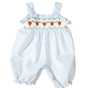 Strawberries Vine Light Blue Striped Seersucker Smocked Knicker 19SU 6451 K