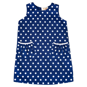 Royal Blue Light Blue Dotted Aline with Pockets 18F 6453 C