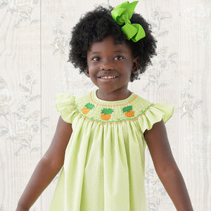 Pineapples Apple Green Gingham Seersucker Angel Sleeve Smocked Bishop 19SU 6456 A