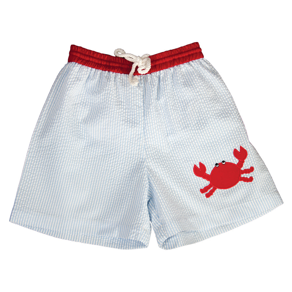 Red Crab Applique Blue Striped Seersucker Boy Swim Shorts 19SU 6458 SW1