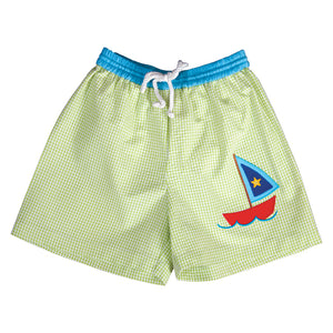Sailboat Applique Apple Green Gingham Seersucker Boy Swim Shorts 19SU 6460 SW1