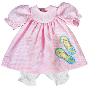 Flip Flops Applique Pink Gingham Seersucker Doll Dress 19SU 6467 DD